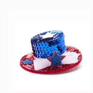NWT sequined Uncle Sam hat hair clip